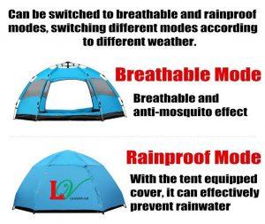 Lều tự bung 3-5 người 6 mặt lưới thoáng, có lớp thứ 2 chống mưa